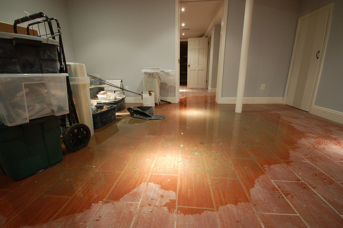 floor damaged caused by competing plumber's poor response time